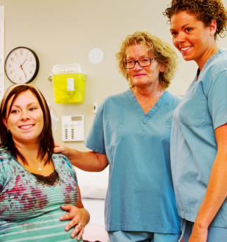 nurses and pregnant woman
